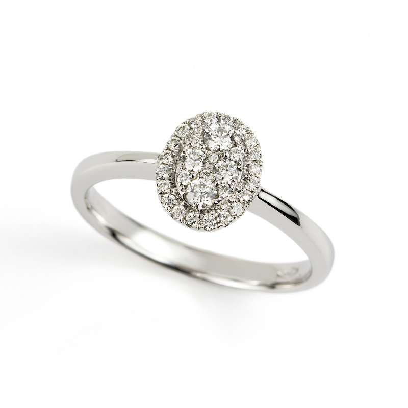 18k White Gold Diamond Oval Cluster Ring 0.28ct Total